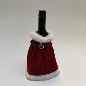 Wijnfles met kerstjurkje